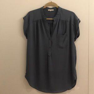Pleione Light Blue Short Sleeve Blouse